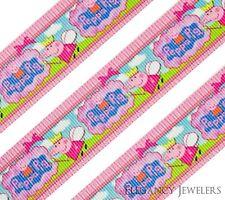 """High Quality 1"""" Peppa Pig Fairy & Logo Girls Hair Bow Printed Grosgrain Ribbon"""