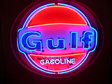 "New Gulf Gasoline Station Neon Light Sign 24""x24"" Real Glass Bar Beer Man Cave"