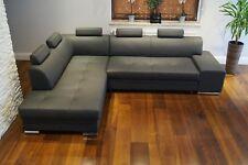 Grau Echtleder Ecksofa Echt Leder Sofa Couch mit Bettfunktion & Kopfstützen