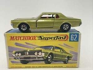 Matchbox SUPERFAST No 62 MERCURY COUGAR  Yellow Green RARE with BOX FREE SHIPPIN