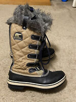 SOREL JOAN OF ARCTIC WINTER BOOTS Tall leather Sz 8.5 brown chestnut faux fur