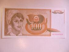 Yugoslavia Banknote 100 Dinara P.105 Unc (1990) Serial Prefix AH