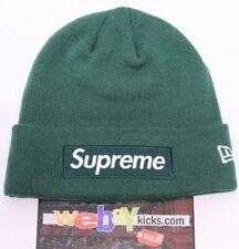 86b316ce9e3dd Supreme New Era New York Box Logo Dark Green White Logo Beanie Hat FW18BN59  New