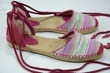 UGG size 7 Canvas & Leather Serape Espadrille Flat Sandal Shoes NEW