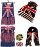 Britain UK Union Jack Patriot Beanie Bobble Hat Scarf Set Ribbed Knit GB