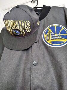 NWT XL NBA GS Warriors UNK varsity jacket PLUS FREE New Era Championshi Hat 2018