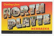[56393] OLD LARGE LETTER POSTCARD GREETINGS FROM NORTH PLATTE, NEBRASKA