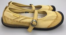 KEEN Coronado Yellow Canvas Leather Mary Jane Shoes Women's 8.5 39 Buckle Strap