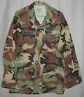 U.S. ARMY Coat Hot Weather Woodland Camouflage 82nd Airborne CIB LARGE LONG 1999