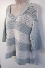 Free People Urban Outfitters Wide Stripes Knit V Neck Loose Fit Sweater Size M