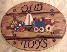 """Old Toys Wooden Sign Train, Boat, Top & ABC 8.5"""" X 6.5"""""""