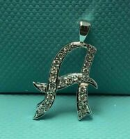 2 Ct Round Cut Diamond Initial A Custom Letter Pendant Charm 14K White Gold Over