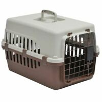 Pet Carrier Cage Dog Cat Kitten Puppy Travel Vet Transport Portable White Brown