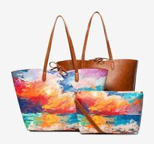 Desigual Landscape Painting Print Nimbus Capri Maxi Bag Reversible  3 in 1
