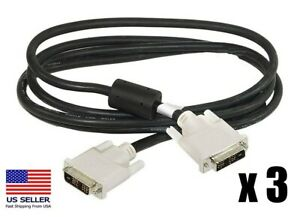 DVI-D to DVI-D DVI Monitor M M Male 2 Male 6 Ft Cable PC LCD TV Lot of 3