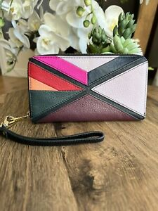 Fossil Logan Leather Zip Around RFID Wallet/Clutch/Wristlet Purse Colourful
