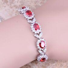 Red Garnet White Topaz Silver Link Chain Bracelet 7 inch For Women S0396