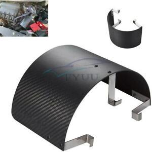 "Car 2.5""-5.5"" Air Intake Filter Cover Heat Shield Kit Matte Carbon Fiber Style"