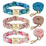 Floral Personalised Dog Collar & Leash Custom Name ID Tag Engraved Metal Buckle