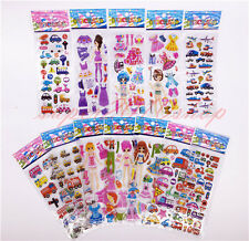 12pcs/lot 3D Stereoscopic Disney Self-adhesive car puffy stickers kids gift