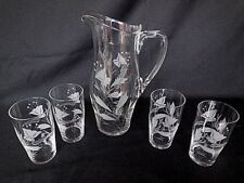 Crystal Pitcher w/4  8 ozTumblers Elegant Etched Vintage Unknown Maker Glassware