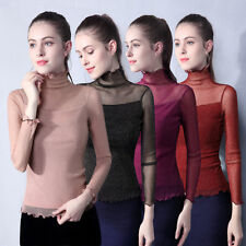 Womens Ladies Long Sleeve Tops Shirt High Neck Mesh Tight Fit T-shirt Blouse