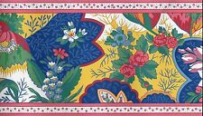 Victorian Jacobean Floral, Blue, Yellow, Red and Pink WALLPAPER BORDER