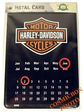 Carte postale en métal HARLEY DAVIDSON plaque moto calendrier perpétuel postcard