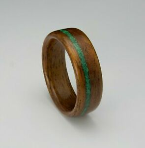 Ring For Men Women Wedding Band Ring Mahogany Wood Malachite Stone