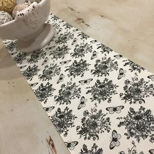 Table Runner, Provincial, Country, Black & Cream Floral, Butterfly, Cotton