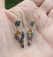 ANTIQUE VICTORIAN CITRINE DIAMOND 14K GOLD SILVER DANGLE EARRINGS