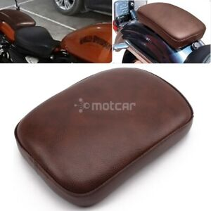 1pcs Rear Fender Solo Seat Cover Leather Pillion Pad Brown Seat 8 Suction Cups