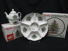 Set of 4 Spode CHRISTMAS TREE Serving Dishes: Teapots, 3-Tier Tray, Chip & Dip