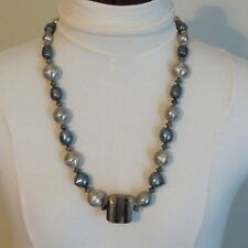 "Fashion Jewery Large Bead String Necklace Silver Brown 24"" length Round Square"