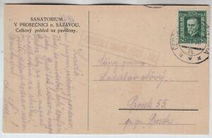CSR, Postablage Sanatorium Prosecnici auf AK nach Prosek 1928