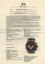 MANUALE di istruzioni TB BUTI magnum SPORT TRICOMPAX ORO certificato di carta in bianco