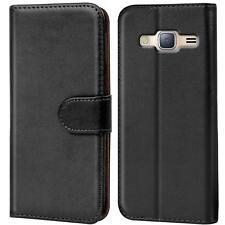 Book Case Samsung Galaxy J3 2016 Hülle Tasche Flip Cover Handy Schutz in Schwarz