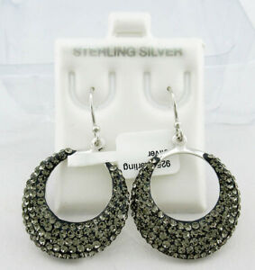 DANGLING MARCASITE HOOP EARRINGS .925 Sterling Silver ** NEW WITH TAG **