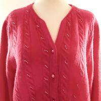 Vintage CASUAL CORNER Womens M Sweater Cardigan Lambswool Angora Pink Hong Kong