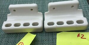 2 Vintage White Porcelain Toothbrush Toothpaste Holder Wall Mount