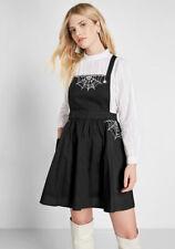 ModCloth Haunt Around Town Embroidered Jumper Dress Skirt L Halloween Spider