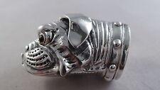 Très belle qualité Sterling Silver BULLDOG HEAD VESTA CASE/BOÎTE à PILULES