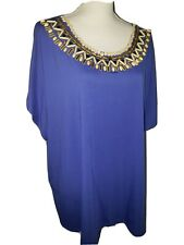 Ruby Red Womens Plus Size 3X Blue Knit Top Wooden metallic embellished neck EUC