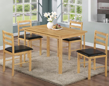 Solid Rubberwood Dining Set With 4 Black Seat Pad Chairs - Delivery