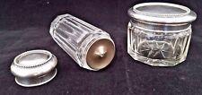 Pair Antique Cut Glass & Hallmarked Sterling Silver Powder & Vanity Jars.