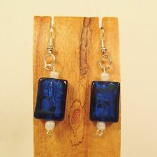 "1"" Dark Blue Color Lampwork Glass Handmade Drop Dangle Earring FREE SHIPPING!"