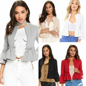 NEW Women Ruffle Frill Open Front Long Sleeve Peplum Coat Blazer Cropped Jacket