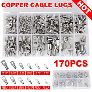 170pcs Marine Battery Wire Cable Crimp Connector Copper Ring Lug Terminal Set