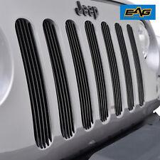 2007-2018 Jeep Wrangler JK Billet Grille Insert Black Front Upper Combo 7PCS
