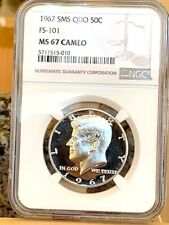 1967 Kennedy Quadrupled Die Obverse FS-101 NGC SMS 67 Cameo * Exquisite & Rare *